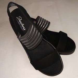 Skechers Shoes - Skechers Black Rumblers Wedge Memory Foam Sandals